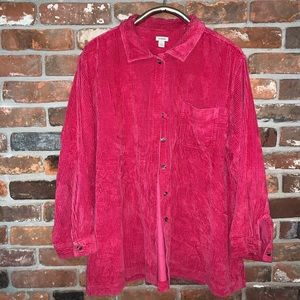 90s pink rose LL Bean corduroy button up